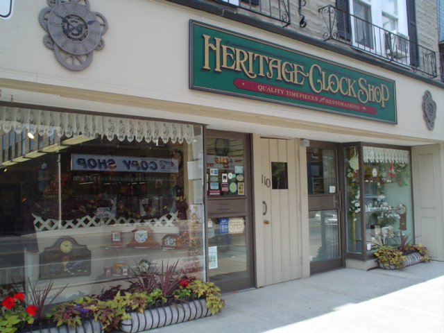 Heritage Clock Shop Storefront in Downtown Brockville